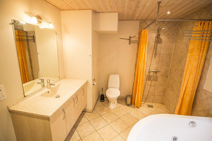 Das moderne Bad mit Whirlpool und Saune