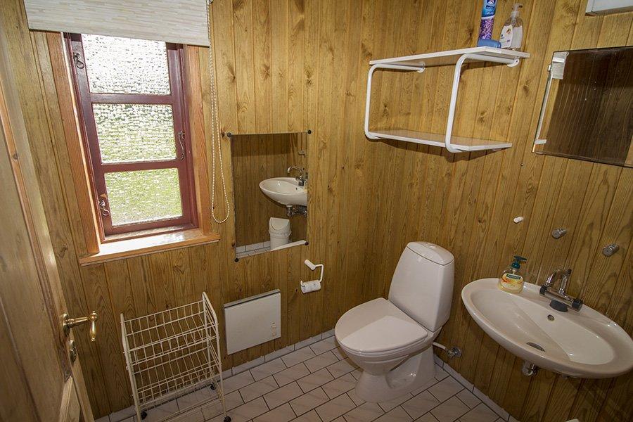 Das Bad mit Waschbecken, Dusche und WC.