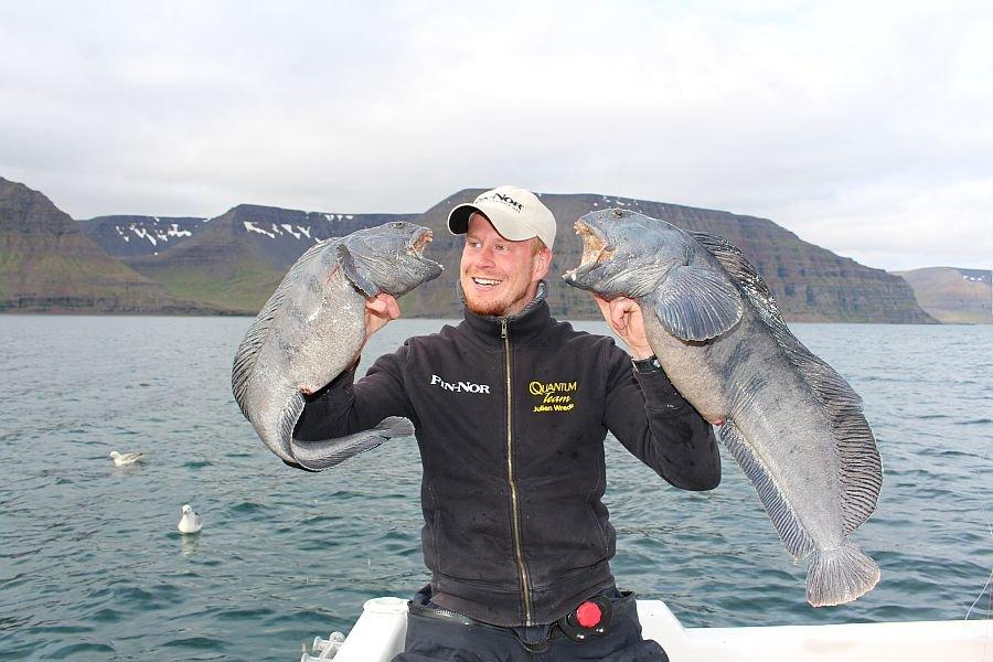 Julien Wrede mit einer Steinbeißerdoublette, Gefangen im Fjord von Flateyri.