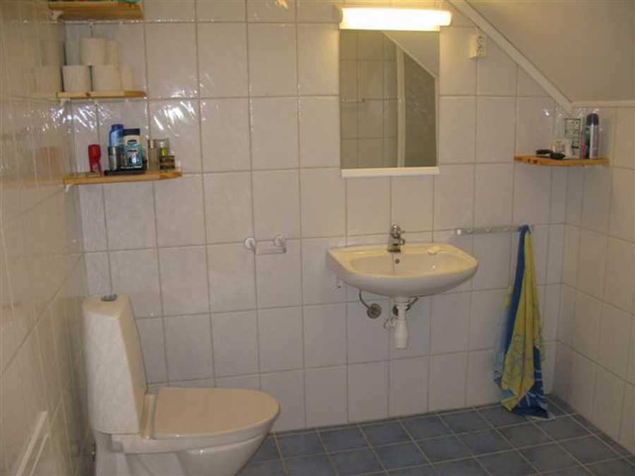 Eins der Bäder mit Dusche und WC