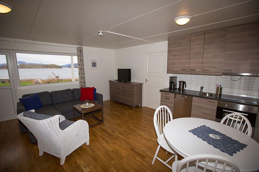 Ap. 1 - Wohnzimmer mit offener voll augestatteter Küche und Essecke.