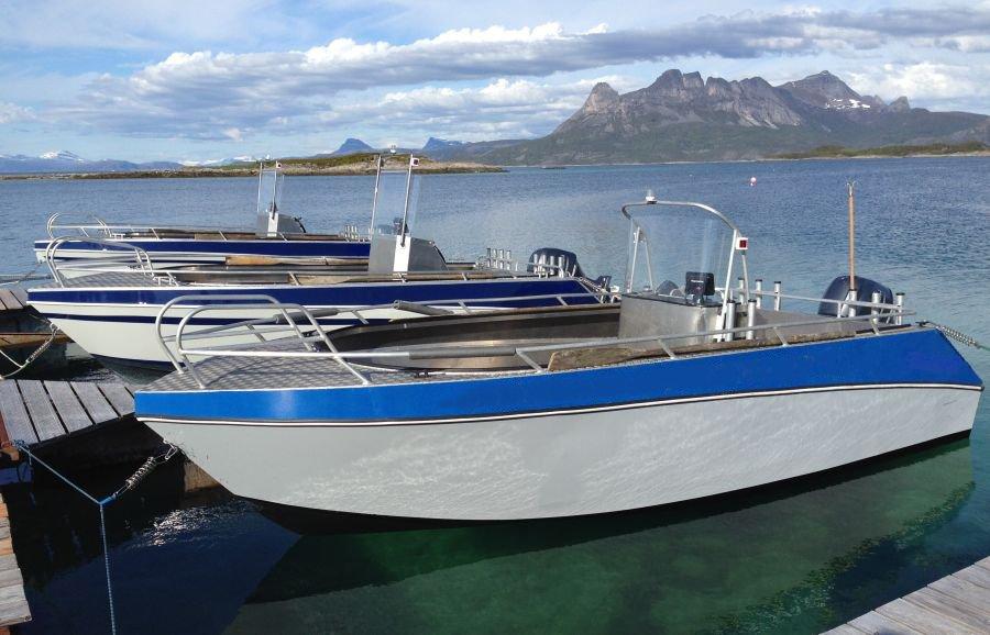 Die brandneuen, voll ausgestatteten Aluboote des Sommersel Fishing Camps.