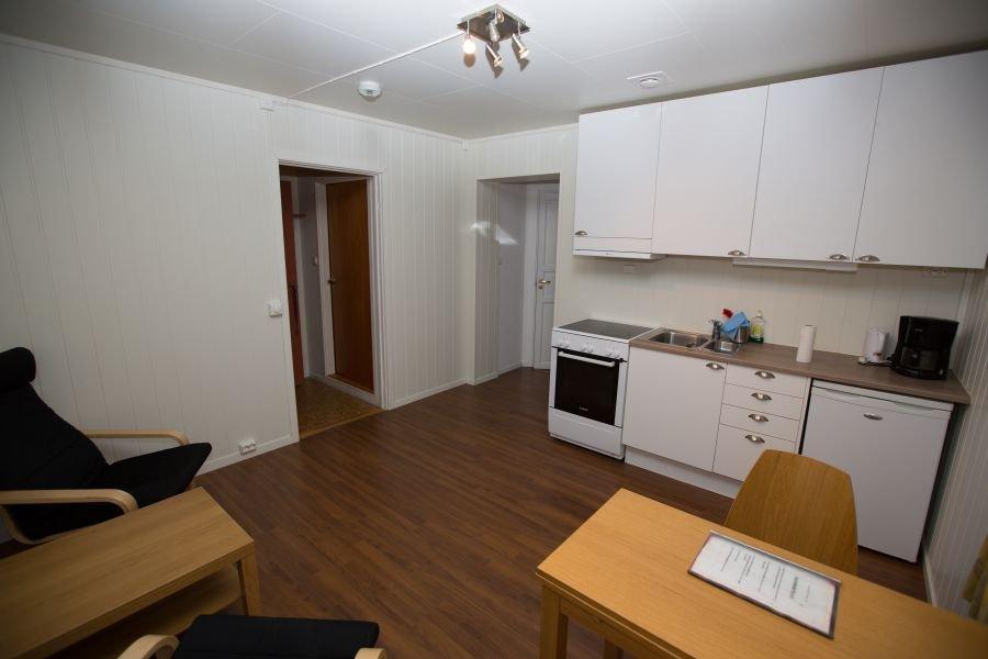 Küchenzeile in einem der Apartments.