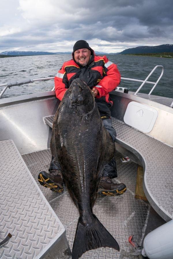 Heilbutt von 1,70 Meter - 10 Minuten Bootsfahrt von Malangen Havfiske entfernt gefangen.