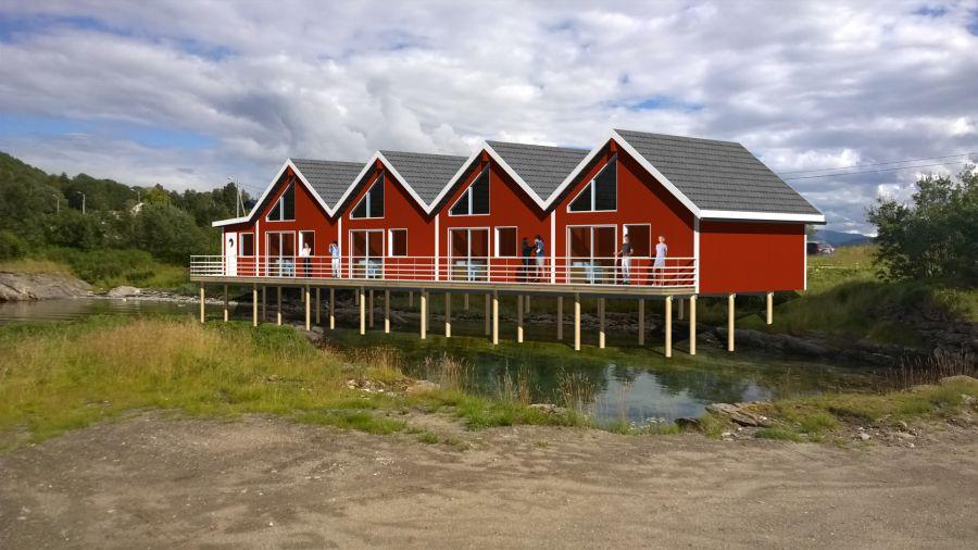 Dyrøysund Sjøhus als Entwurf des Architekten. Ab April 2018 stehen Ihnen die brandneuen Unterkünfte am Sund der Superplatten zur Verfügung.