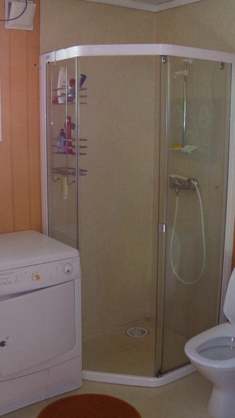 Das Bad mit Dusche, WC Waschmaschine und Wäschetrockner