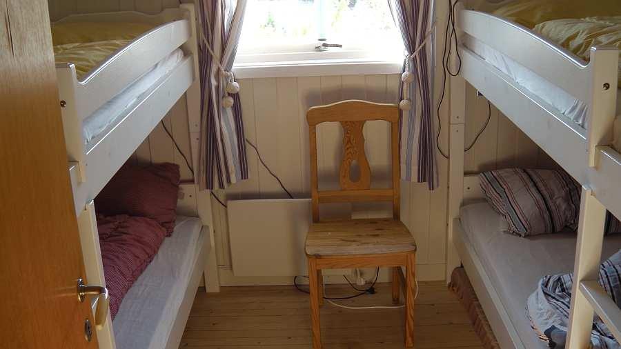 Das Schlafzimmer mit zwei Etagenbetten