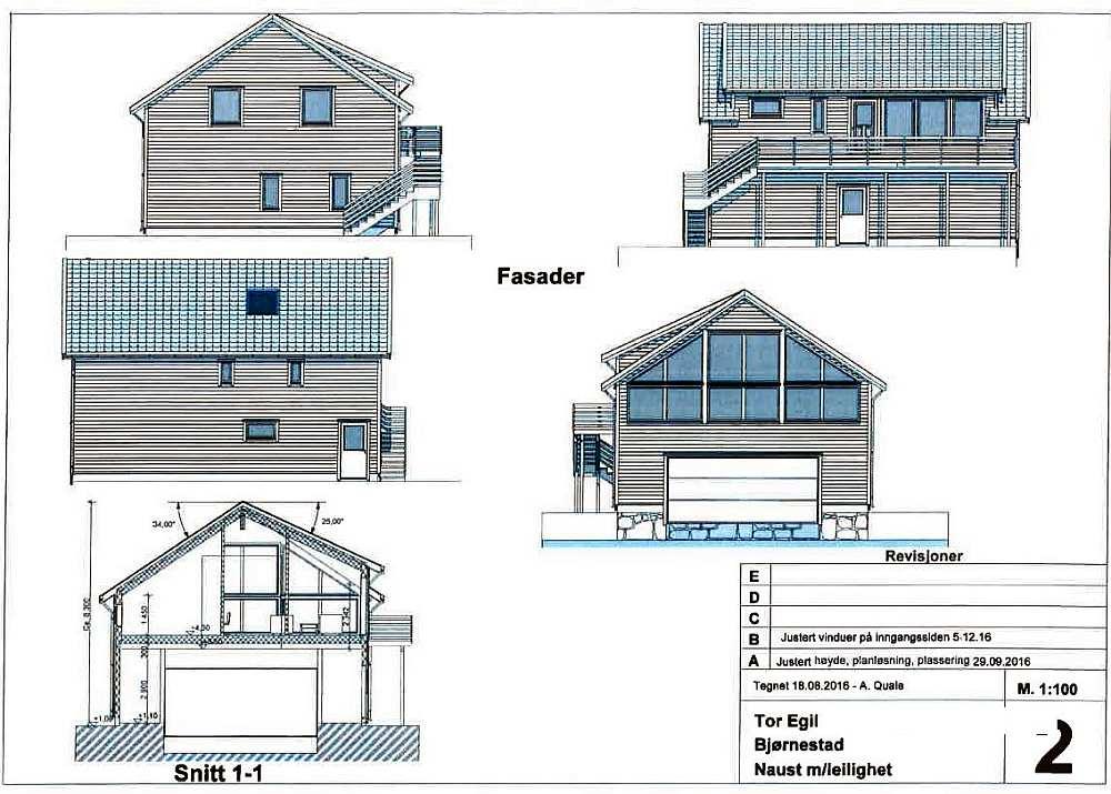 Der Bauplan des noch im Bau befindlichen Ferienhauses  Bjørsviga