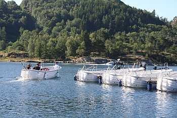 Die Steganlage mit der Dieselboot-Flotte