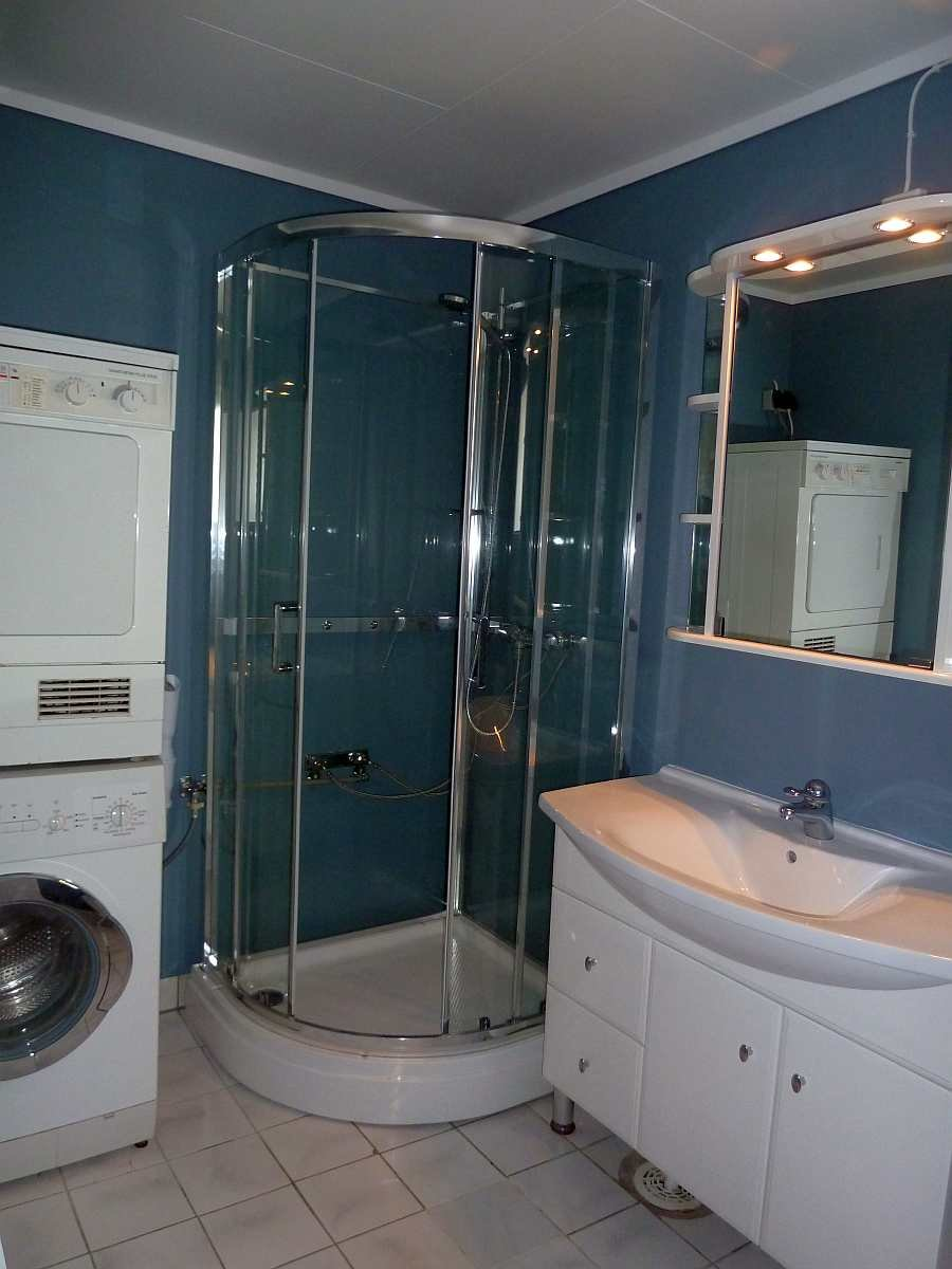 Das erste Badezimmer mit Waschbecken,  Dusche, WC und Waschmaschine/Trockner