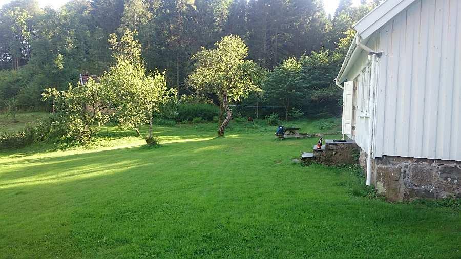 Der Garten mit Sitzbereich vor dem Haus