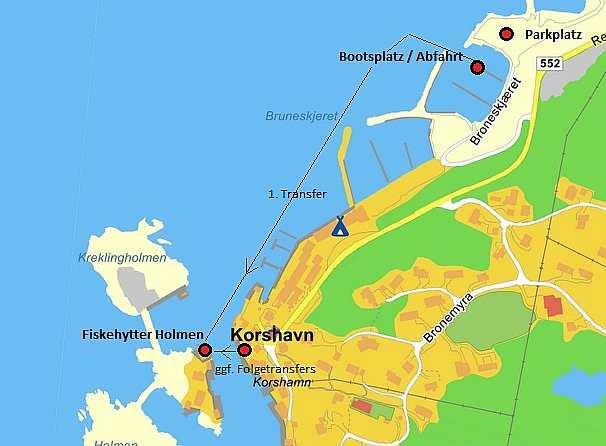 Der kurze Transfer vom Land auf die kleine Insel Holmen auf der das Ferienhaus liegt (nur 40 oder 350 Meter)