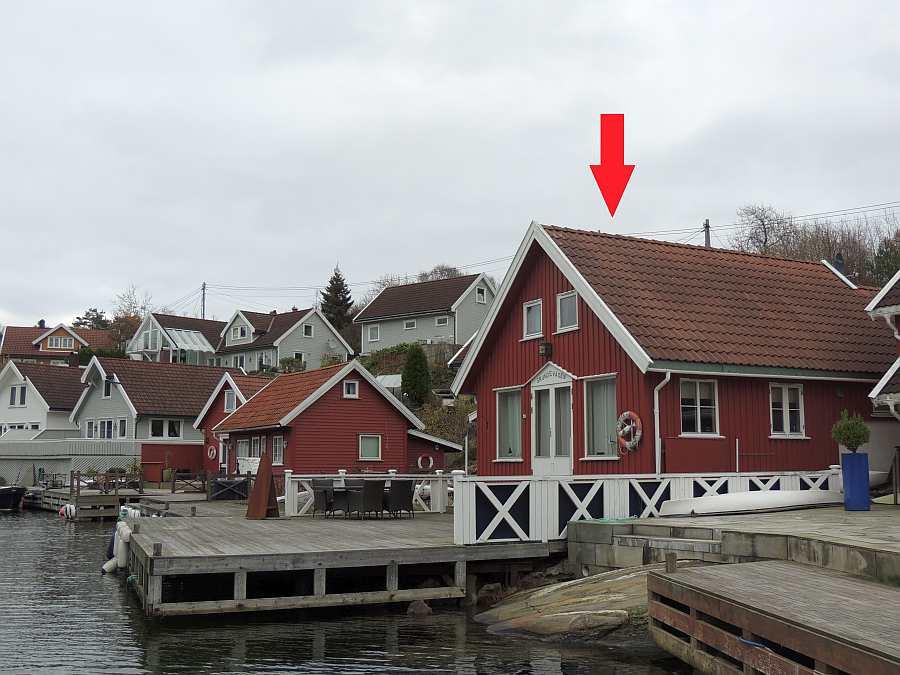 Ferienhaus Grundevågen  auf der Insel Flekkerøy bei Kristiansand - perfekte Lage direkt am Wasser