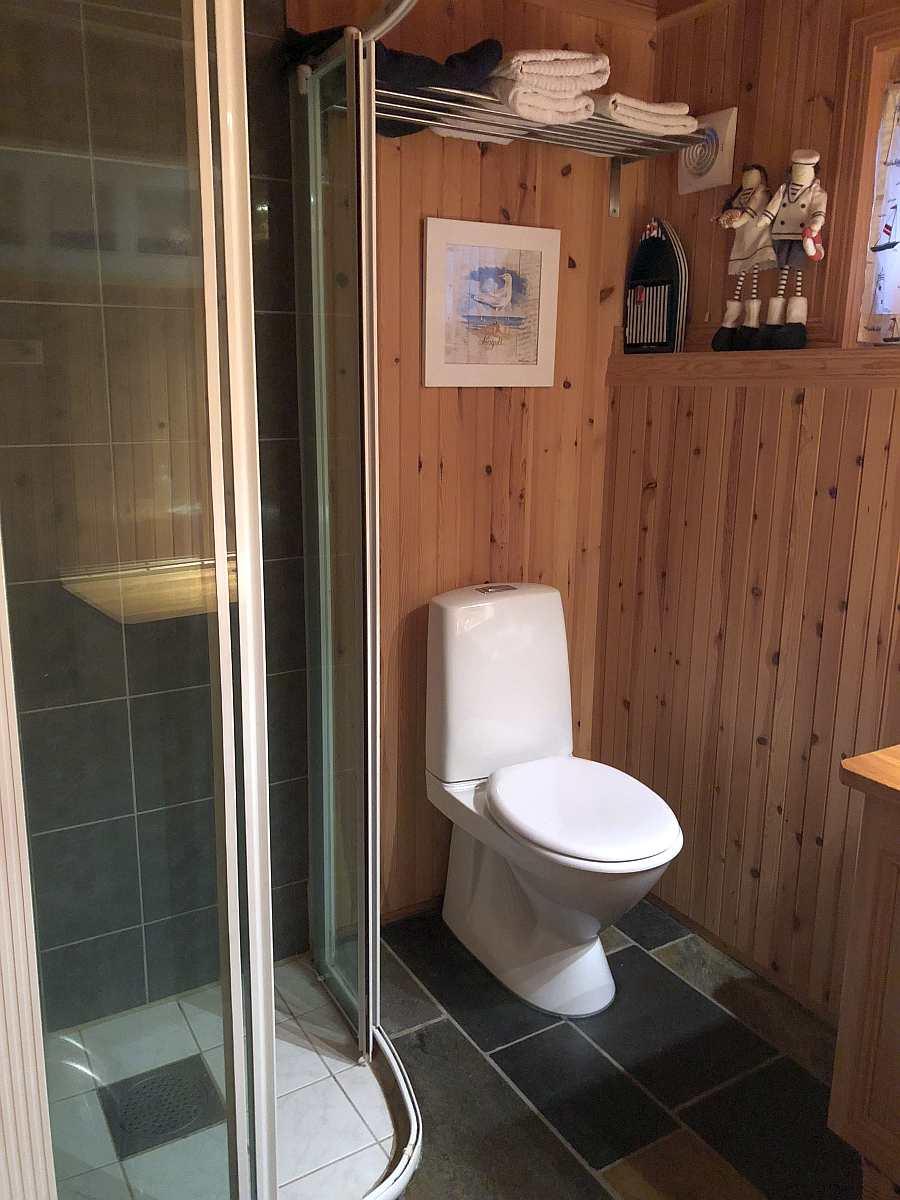 Im Bad finden sich Dusche, Waschbecken und ein WC. Auch eine Waschmaschine ist vorhanden.