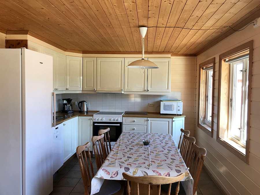 Blick in die offene Küche von Ferienhaus 4. Die Küche von Ferienhaus 3 ist quasi identisch