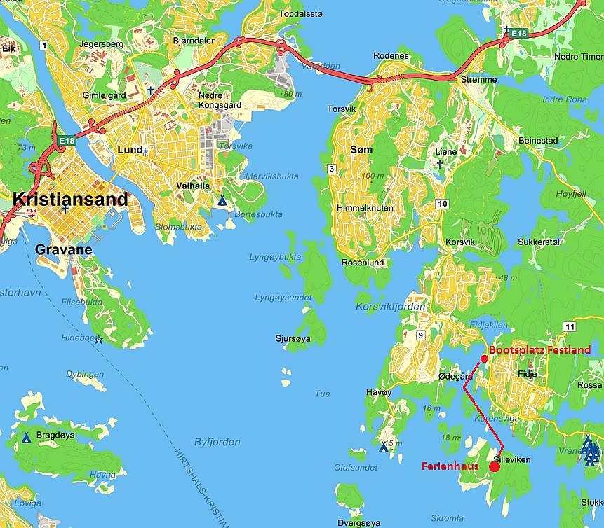 Die Lage des Ferienhaus auf der Insel Herøya und der Bootsplatz des Ferienhauses am Festland