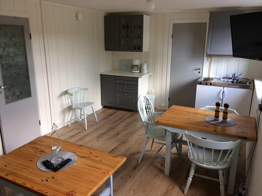 Wohnbereich mit offener Studioküche in der Ferienwohnung Typ E