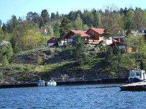 Die Lage des Ferienhauses Fjordstua am Wasser