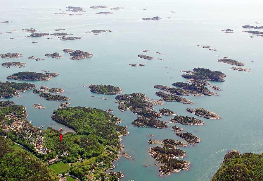 Blick auf die Schärenlandschaft im Küstenbereich des Ferienhauses Vige