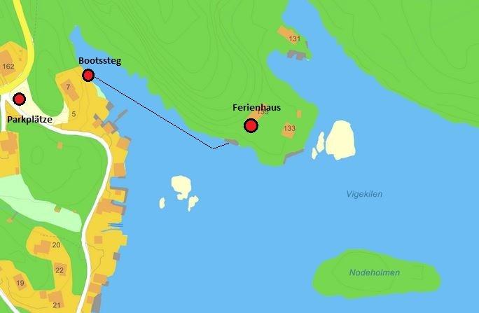 Der kurze Bootstransfer vom PKW-Parkplatz zum Ferienhaus - nur ca. 60 Meter Bootsfahrt