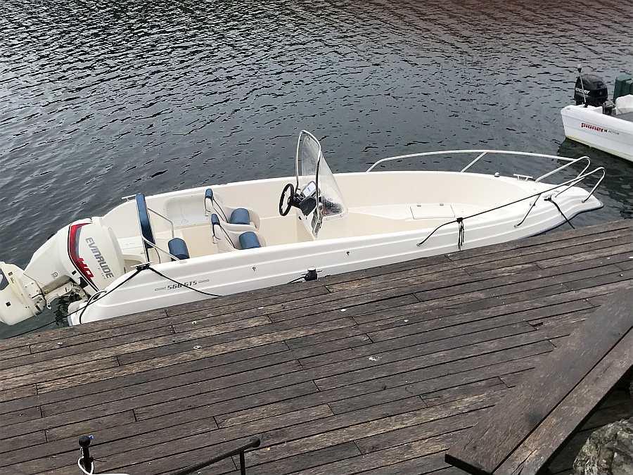 Das optional zusätzlich buchbare Angelboot:  Angelboot Ryds 19 Fuß/115 PS, 4-Takter E-Starter, Steuerstand mit Windschutz, Echolot, GPS/Kartenplotter