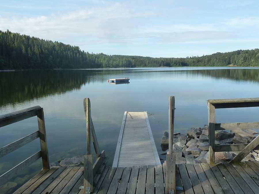 Die Badeinsel im See