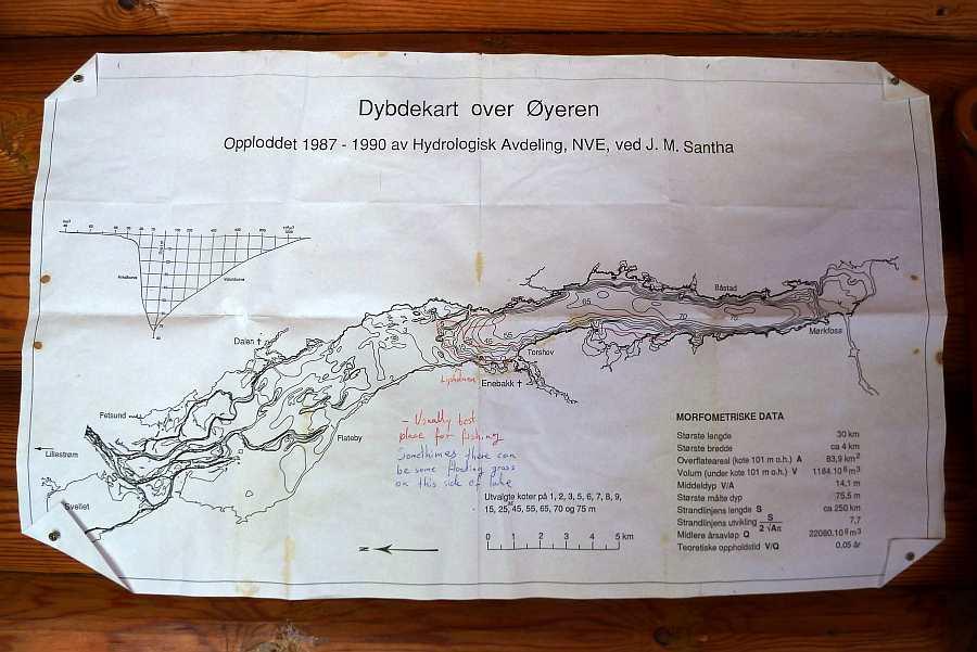 Mit Ihren Reiseunterlagen erhalten Sie eine Tiefenkarte des Sees  Øyeren