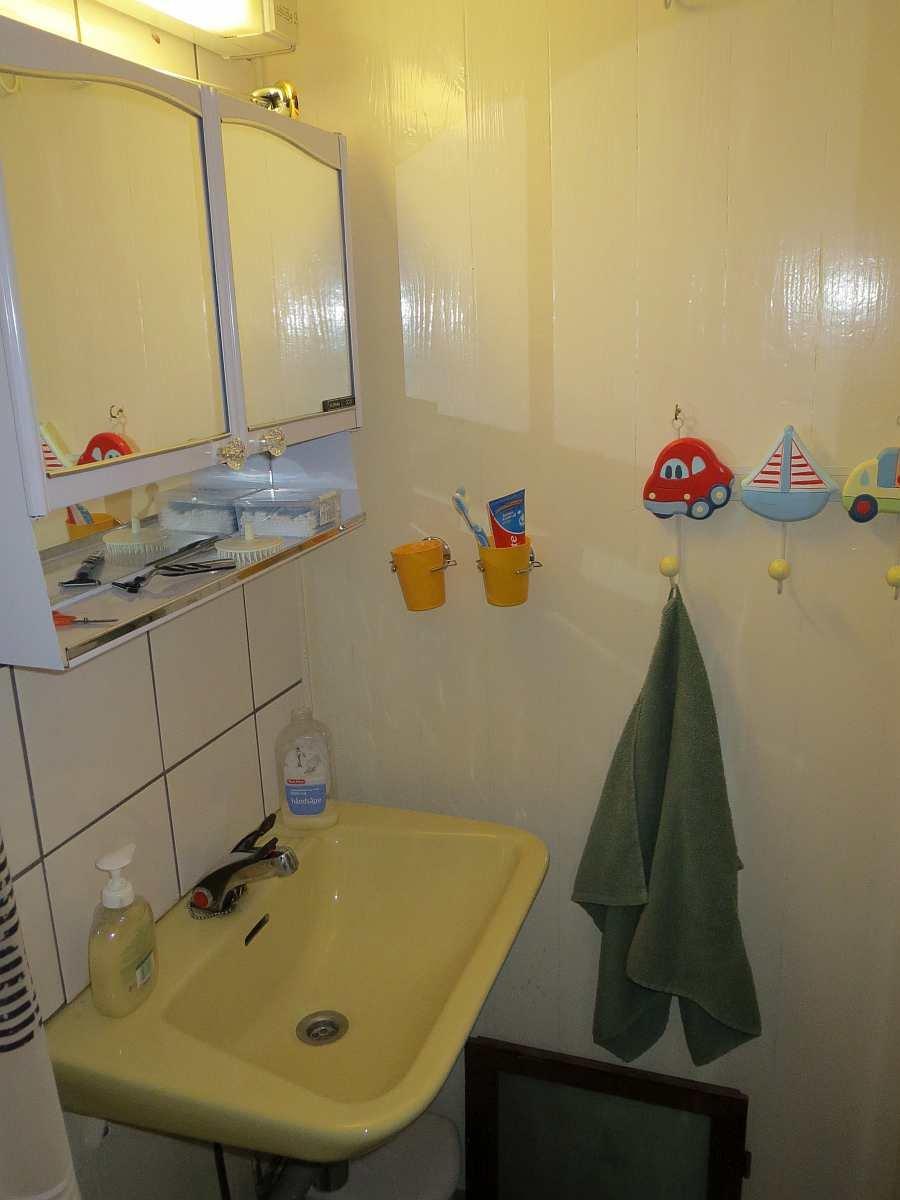 Das Bad mit Waschbecken und Dusche