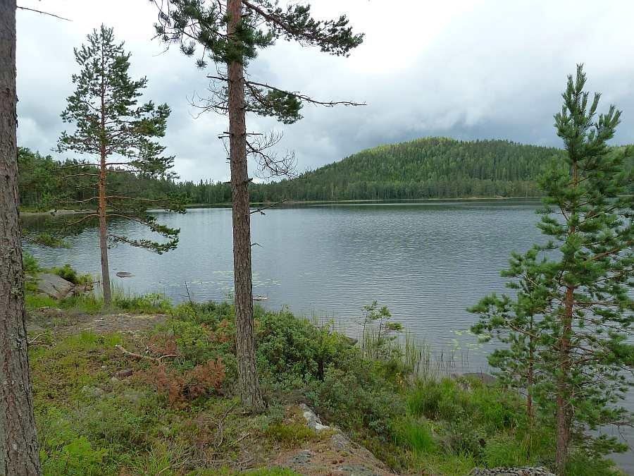 Blick vom Haus auf den südlichen Teil des Sees Vestre Rømungen