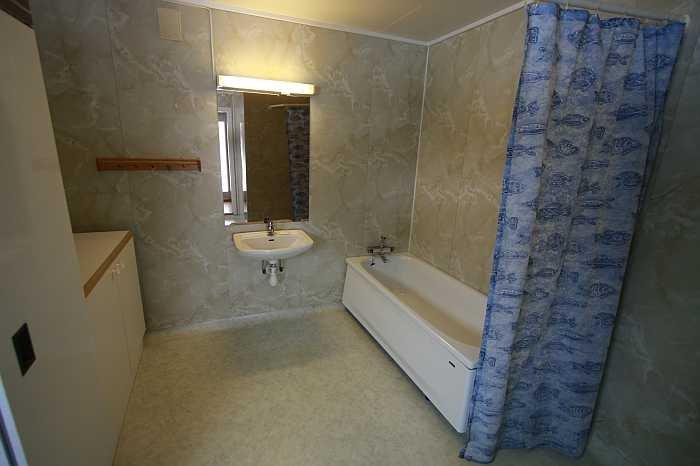 Das Bad mit Dusche, Badewanne, Waschmaschine und Trockenschrank