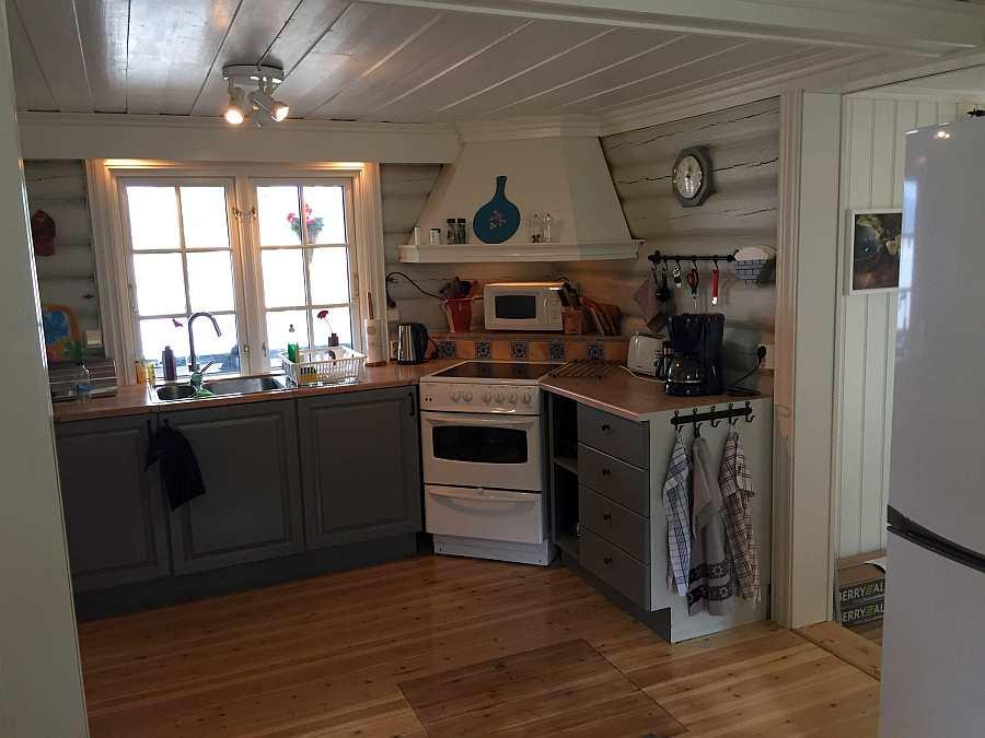 Blick in den Koch-/Arbeitsbereich der geräumigen Küche