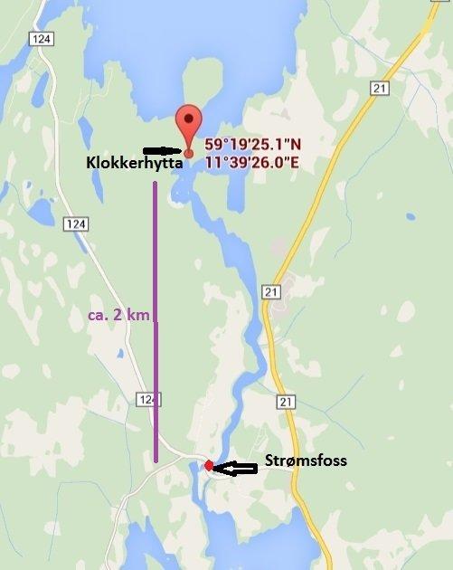 Die Lage des Ferienhauses und der Servicestation Strømsfoss