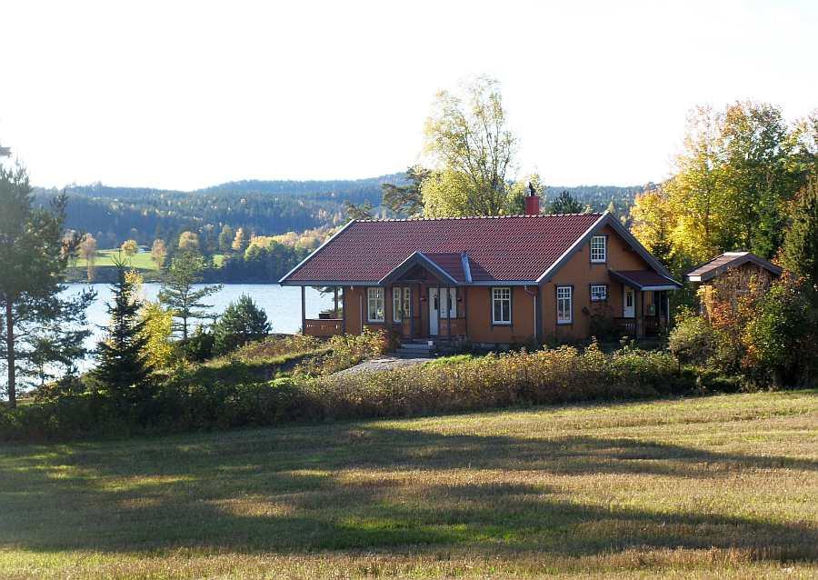 Ferienhaus Langenes - Alleinlage direkt am Ufer des Sees Øymarksjøen