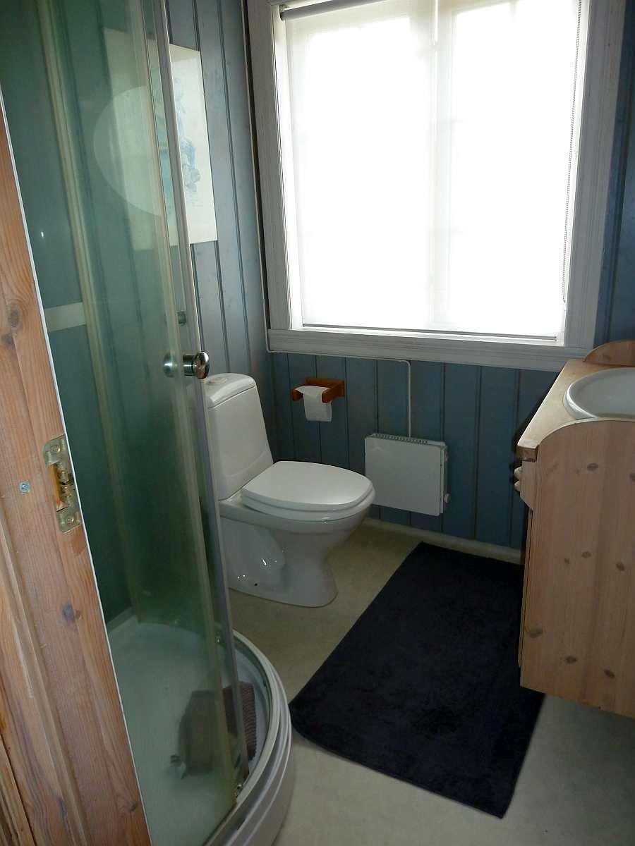Das Bad des Ferienhauses mit Dusche, Waschbecken und WC