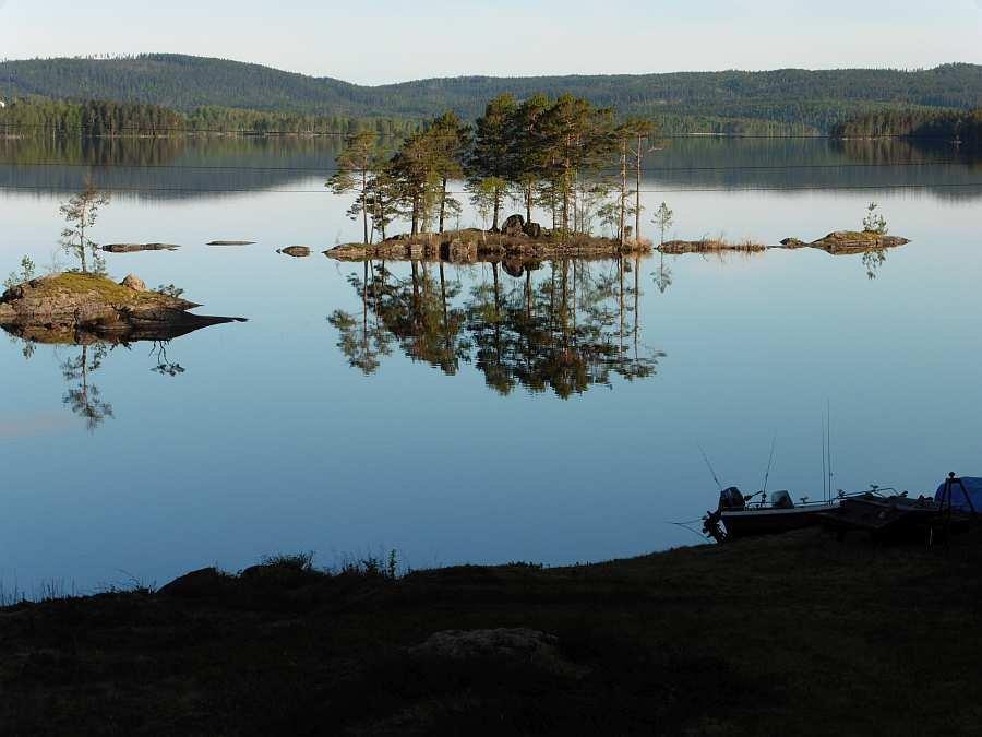 Blick vom Haus auf den See Rømsjøen