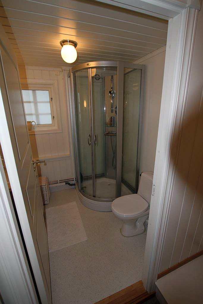Das Badezimmer des Hauses mit Dusche und WC