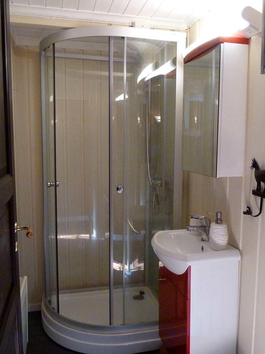 Das Badezimmer mit Dusche und Waschbecken