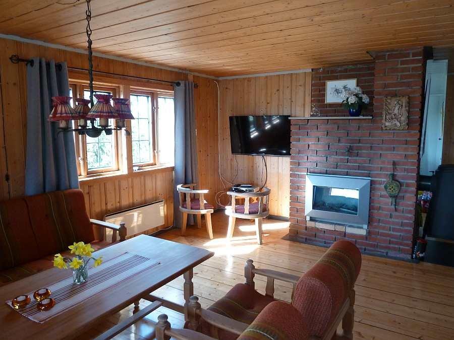 Der großzügige Wohnbereich mit Sitzecke, Sat-TV und E-Kamin