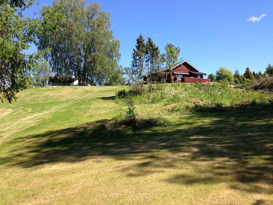Blick vom Steg auf das große Grundstück  (rechts der rote Schuppen, das Ferienhaus liegt hinter dem großen Baum)