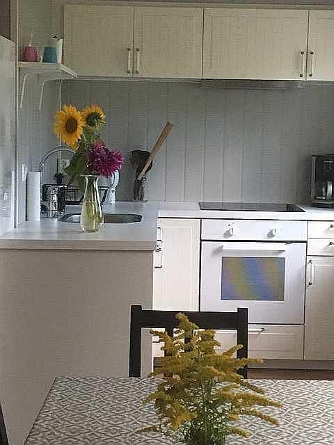 Ferienwohnung Gjedda - Blick in die offene Küche