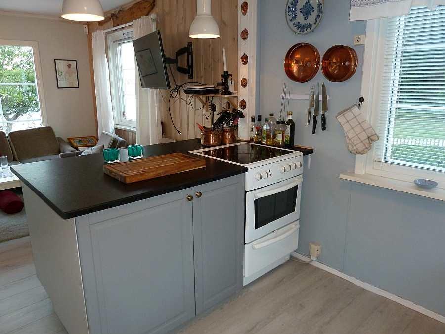Die Küche ist offen zum Wohnbereich. Der Küchenblock bildet die Abgrenzung
