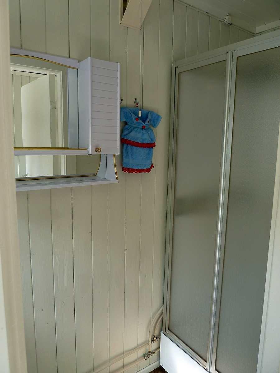 Das  kleine Badezimmer im Haupthaus mit Dusche und Waschbecken