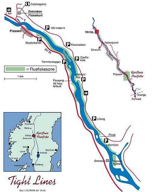 Die 7 km lange Fliegenfischerzone der Trysilelva