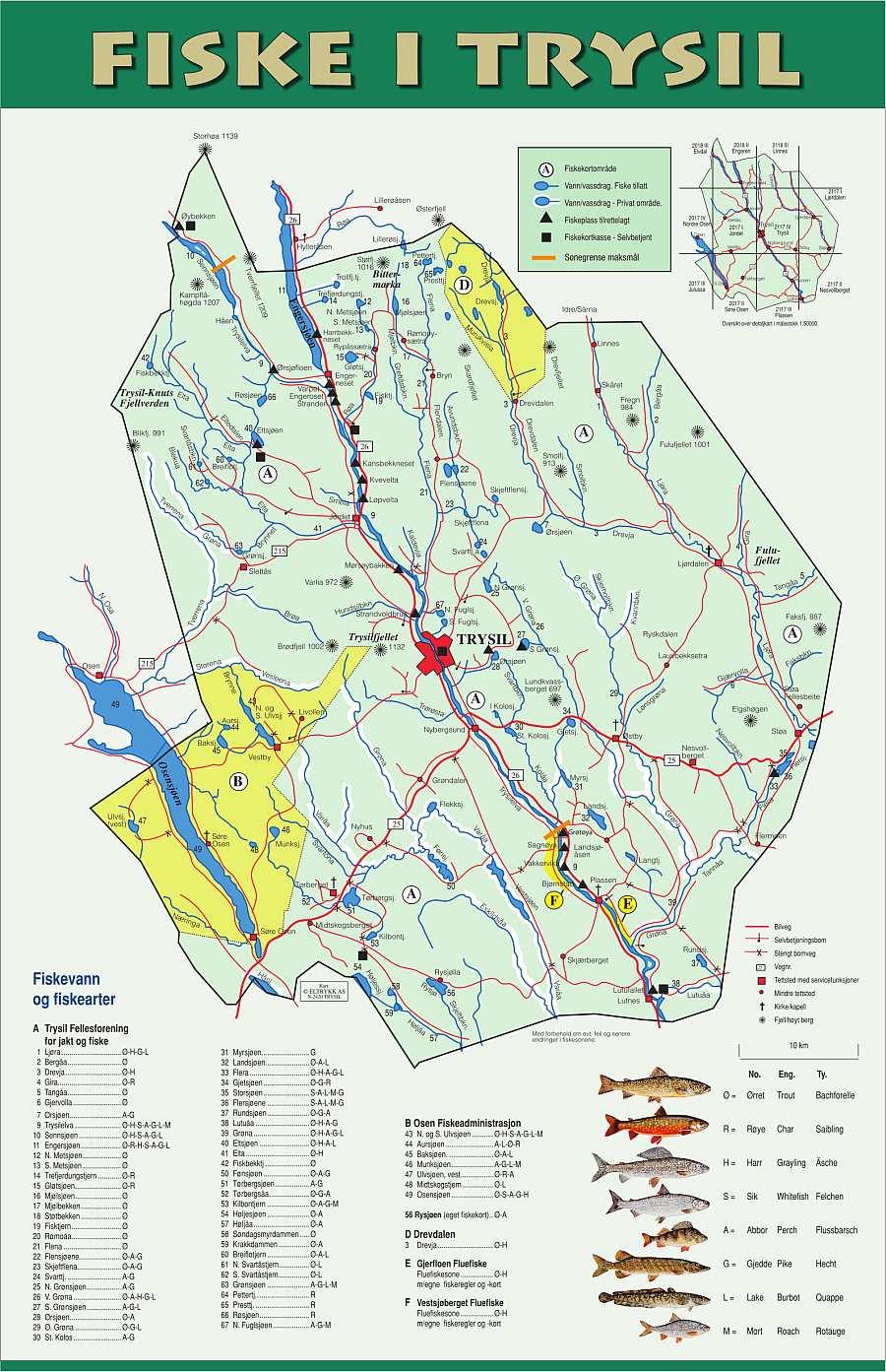 Die Angelkarte für die allgemeine Zone der Trysilelva und für etliche weitere Gewässer der Region (nur eine Lizenz nötig)