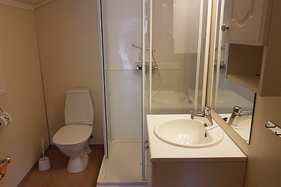 Das Badezimmer mit Waschbecken, Dusche und WC