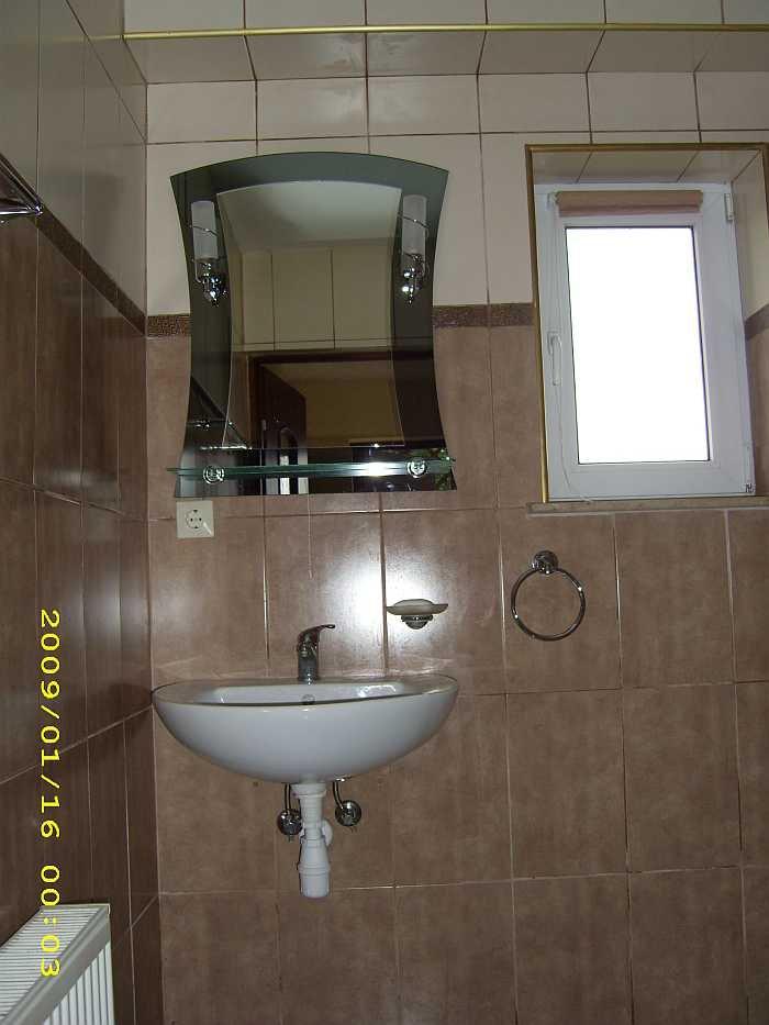 das bad der Wohnung Wels verfügt über Dusche/WC und Waschbecken