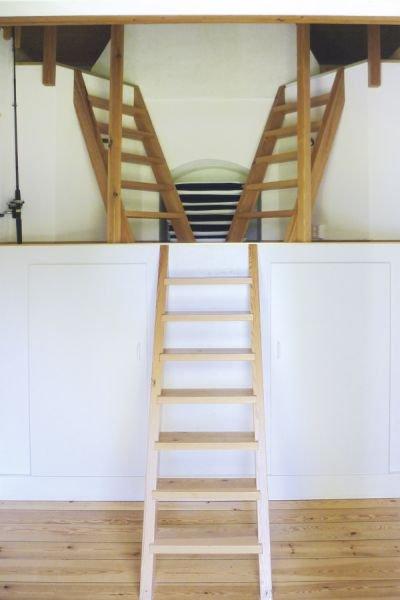 Die Treppe zur Galerie.