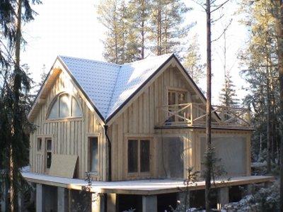 Das Ferienhaus im Winter.
