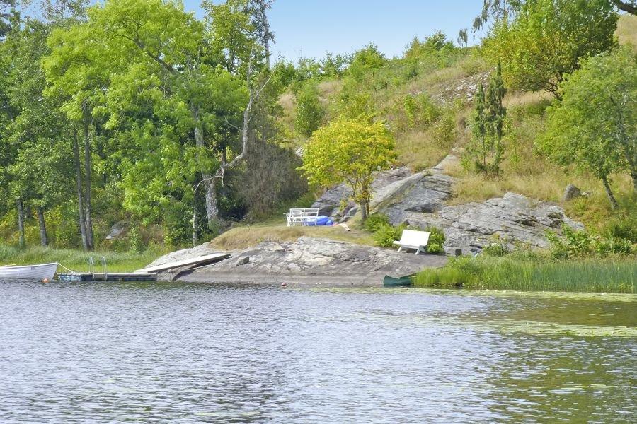 Toller Blick vom Wasser auf den Bootssteg.